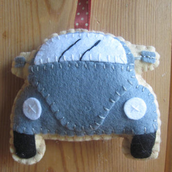 VW Beetle Plush, Dark Grey Felt Toy
