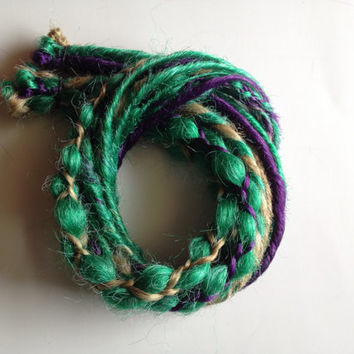 15 SE Single End Synthetic Dreads Braid in Dreadlock Hair Extensions Mint Seafoam Green Purple Blonde