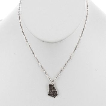 Sliver State Of Georgia Charm Necklace