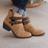Double Trouble Ankle Booties ~ Camel
