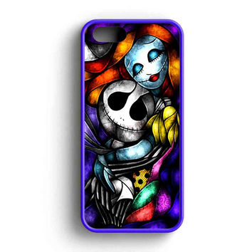 Jack And Sally Glass Water Color  iPhone 5 Case iPhone 5s Case iPhone 5c Case