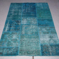 "4'1"" x 6'1"" (126 x 186 cm) Turquoise Color Patchwork Rug Handmade from Overdyed Vintage Turkish Carpets"