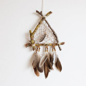 Dreamcatcher, Boho Wall Hanging, Triangle DreamCatcher, Home Decor, Rustic, Home Decor, Wooden, Natural, Talisman, Triangular Dreamcatcher