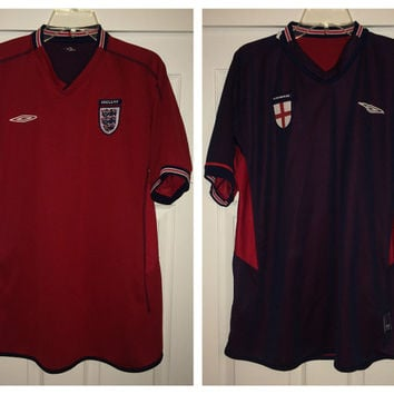 Sale!! Vintage Umbro 2002 ENGLAND reversible soccer jersey football shirt