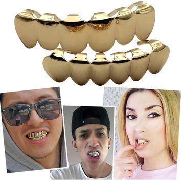 HIPHOP Dental Grillz Teeth Caps Grills Rhinestone Gold Silver Steampunk Men Bijoux Femme Body Jewelry