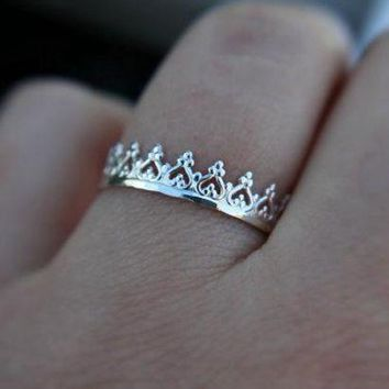 ac spbest 12pcs Gold Silver Lovely Crown Ring Fancy Princess Ring Engagement Queen Ring RG135