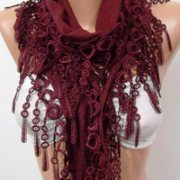 Super Elegant  Scarf  It made with good quality  PASHMINA  fabric ...Burgundy  Scarf