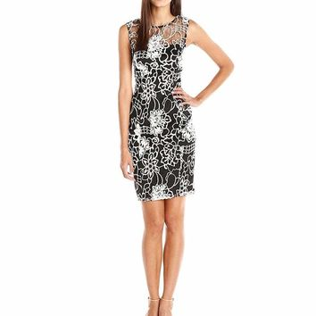 Adrianna Papell - 14250100 Sleeveless Floral Lace Cocktail Dress