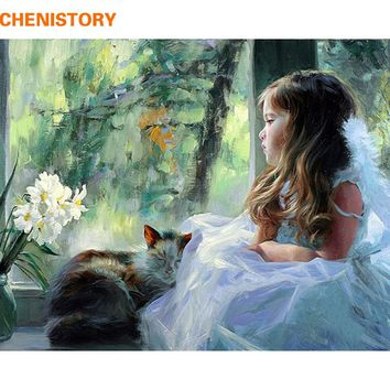 CHENISTORY Angel Girls DIY Painting By Numbers Acrylic Home Decor Wall Art Canvas Paint Figure Minion Wedding Decoration 40x50cm