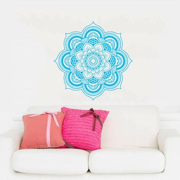Mandala Menhdi Flower Pattern Wall Decal Ornament Om Indian Living Room Wall Sticker Pinturas Murais Yoga Art Vinyl Mural J042