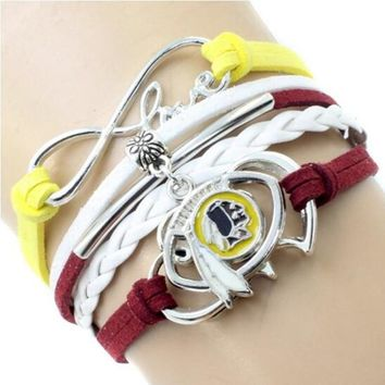 Infinity Love Kansas City Chiefs Multi-Strand Bracelet Football Team Charm Bracelets & Bangles Sport Women Men Jewelry 6PCS