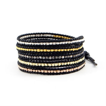 CHAN LUU ~ Yellow, Rose & Sterling | Black Leather Wrap