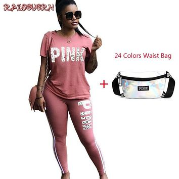fc879ab4042 RAISEVERN Pink Letter Print Women Suits 2 Two Piece Set Top And Pants  Tracksuit Casual Outfit
