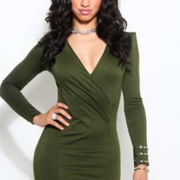 Olive Green Long Sleeve Wrap Bodice Bodycon Dress
