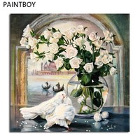 PAINTBOY Rose And Dove Framed Picture Painting By Numbers DIY Digital Canvas Oil Painting Home Decor Wall Art G308