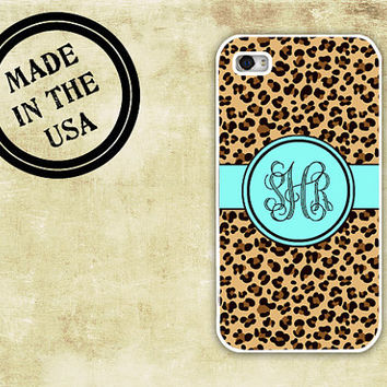 Leopard iPhone case - Leopard animal print with Tiffany blue monogram - rubber Iphone 5 case, plastic iPhone 4 case (9959)