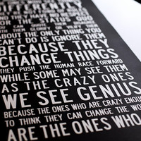 THE CRAZY ONES Inspirational Art Think by TheMemoryGallery on Etsy