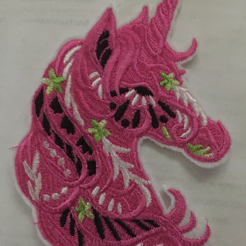 Unicorn Patch Carousal patch horse patch all embroidered pretty pink Animal Patch