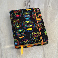 Skull notebook Fabric journal Color sheets notebook Sugar skull notebook Halloween book Fabric covered book Blank book Hand bound notebook