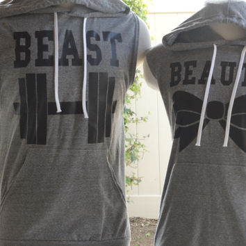 Free/Fast Shipping for US Beauty And The Beast Lt. Weight Sleeveless Hoodies:Gray with black decal