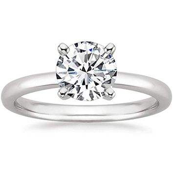 CERTIFIED 1/2 Carat 14K White Gold Round Cut Solitaire Diamond Engagement Ring