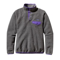 Patagonia Women's Synchilla® Recycled Fleece Lightweight Snap-T® Pullover | Nickel w/Violetti