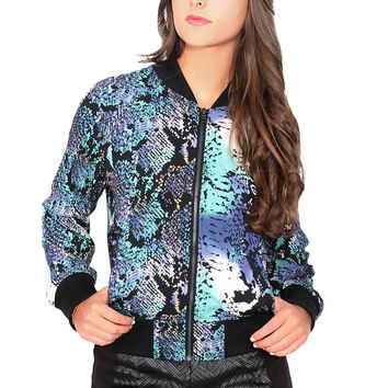 Brooklyn Karma Blue Snake Zip Up Jacket