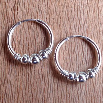 Hoop Earrings Beaded 925 Sterling Silver
