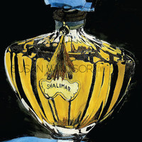Guerlain Shalimar Perfume Bottle - Giclee Reproduction - Watercolor and Ink Painting Fine Art Print 5 x 7