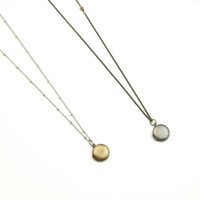Simple Tiny Locket Necklace //  Antique Long Necklace  //  Small Round Locket Necklace