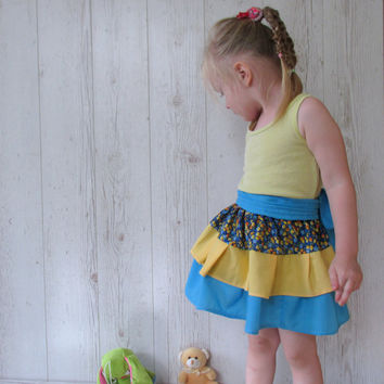 Toddler skirt, Multicolor Girls Skirt, Toddler Ruffle Skirt, Baby Ruffle Skirt,  Girls Skirt , 2 Tiers Skirt, Tiered Skirt