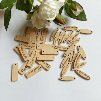 "Sewing Accessories 40Pcs ""hand made"" Tag Brand Wood Label Wooden Buttons For Sewing DIY Decorative Craft Scrapbooking"