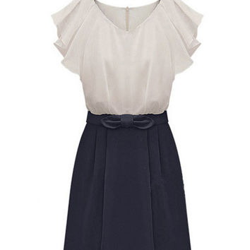 White and Blue Bow Short Ruffled Sleeve A-line Chiffon Mini Dress