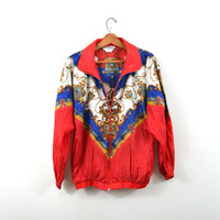 Vintage Bomber Jacket Baroque Bomber Jacket Red Bomber Jacket 80s Windbreaker Jogging Suit Track Suit Warm Up Pants