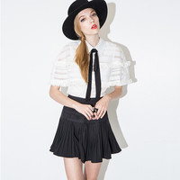 Mesh Ruffled Sleeve Pointed Flat Collar Shirtwaist Pleated Mini Dress