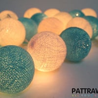 LED 20 Go To The Sea - Aqua Cotton Ball String Lights