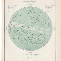 1910 september antique original star map celestial astronomy print