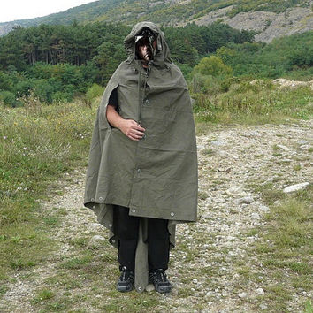 Vintage USSR Cape Tent Raincoat Uniform Military Russian never used poncho tarpaulin 1970's