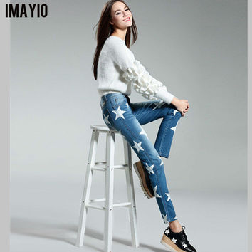 Imayio 2016 jeans women plus size straight Denim pants ladies fashion star pattern jeans high quality trousers