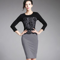 Women Black White Plaid Office Lady Dress Front Lace Three Quarter Sleeve Casual Pencil Vintage Business Work Dresses B269