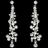 Clear Crystal Drop Bridal and Prom Earrings