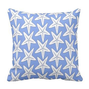 Awesome White Starfish Pattern Throw Pillow