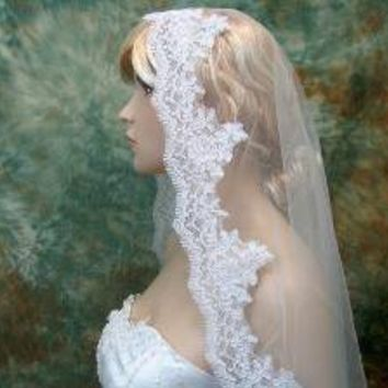Mantilla bridal wedding veil alencon lace white by alexbridal