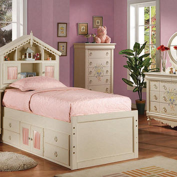 Sugar and Spice Twin Size Bookcase Captains Bed