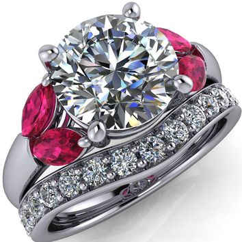 Adrenne Round Moissanite 4 Prong Double Ruby Marquise Side Ring