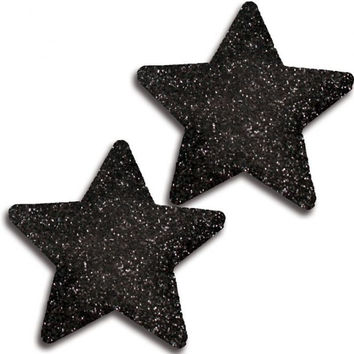 Black Glitter Star Pasties