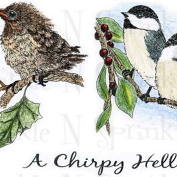 A Chirpy Hello Rubber Stamp Set [00-557P5]