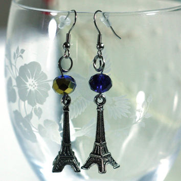 Blue and Gold Crystal Bead and Silver Eiffel Tower Charm fashion Earring - boho style