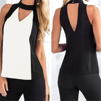 2016 New Fashion Patchwork Summer Women Blouse Sleeveless Halter Neck Shirts Sexy V Back Tees Women Clothing