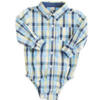 6-12 Months Yellow/Blue Plaid with Navy Contrast Oxford Long Sleeve Shirt
